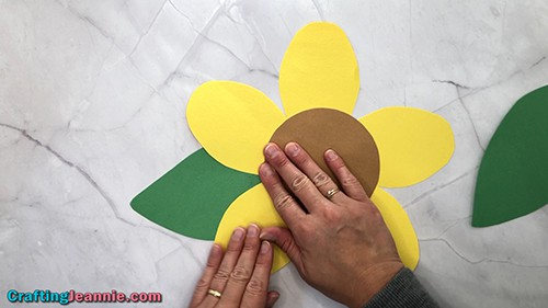 gluing the paper sunflower craft