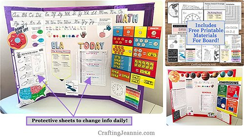 Virtual Learning workspace board with free printables - telling time, multiplication, maps, cursive and more