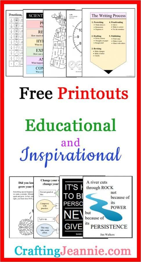 Free Educational and Inspirational printouts for pintrest