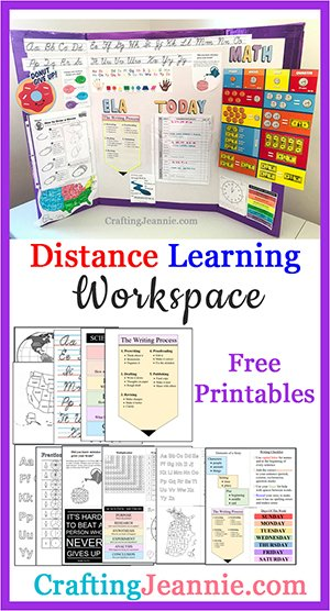 virtual learning workspace image for Pinterest