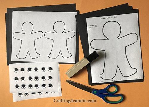halloween mummy craft printable ready for cutting