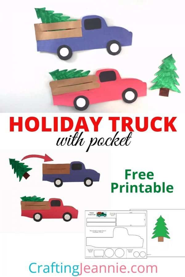 holiday truck with pocket craft pin