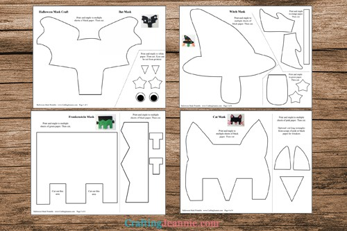 pages of Halloween mask craft printable
