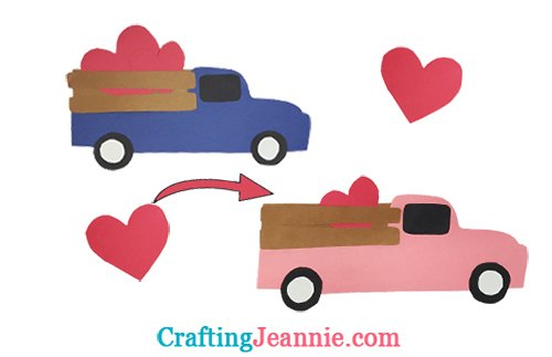 two paper trucks with hearts in the back crafting jeannie