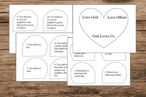 pages of ten commandment heart craft template