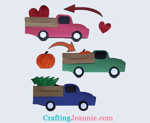 pocket pickup truck craft with heart pumpkin and tree crafting Jeannie
