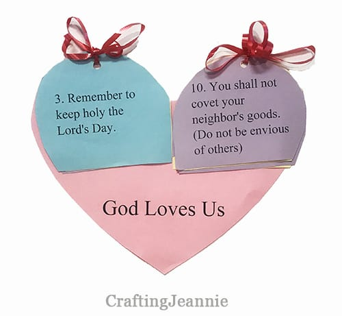 ten commandments heart craft for sunday school or ccd