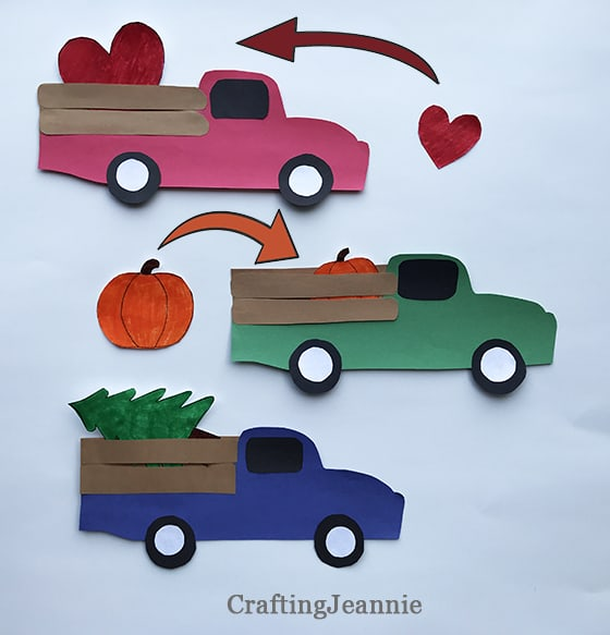 seasonal truck craft valentines day, fall craft and Christmas truck