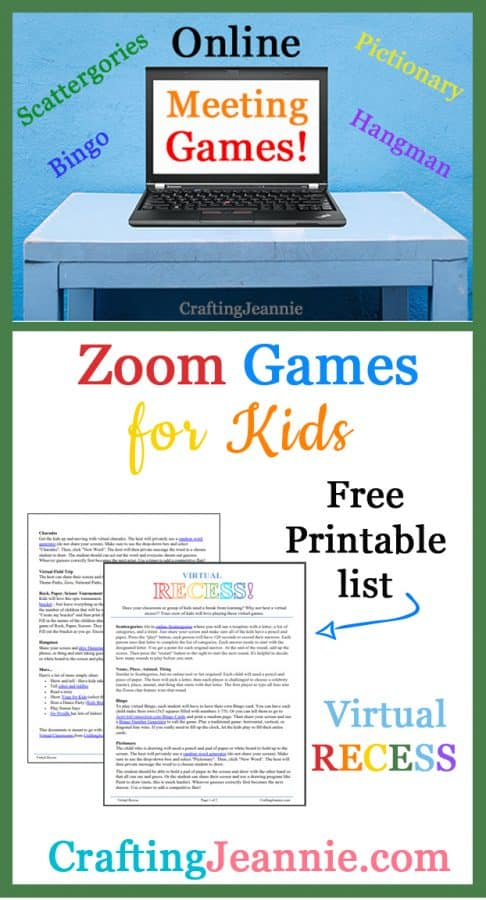 Online Meeting Games for Kids ad for pinterest