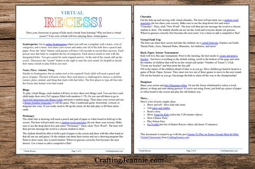 virtual recess online games pdf pages