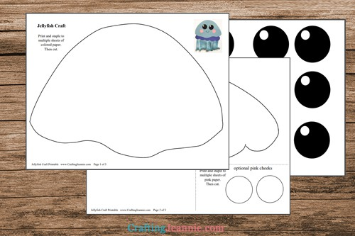 pages of jellyfish craft printable