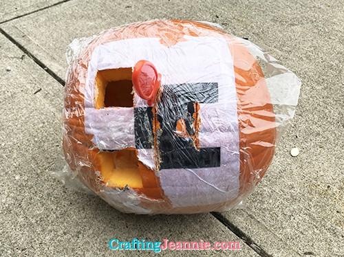 halfway through carving pumpkin