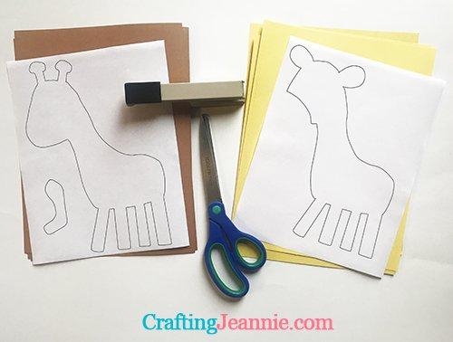 giraffe template ready for cutting