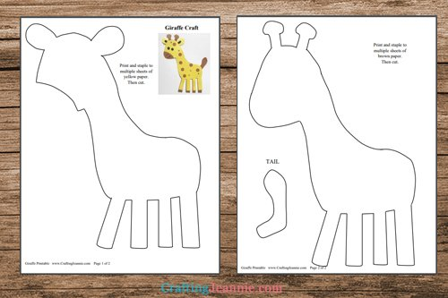 pages of giraffe printable