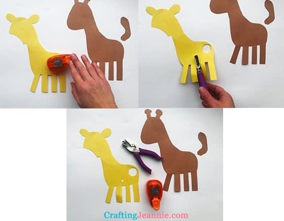 punching holes to make giraffe spots