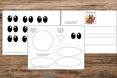 pages of turkey headband printable