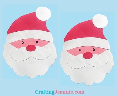 two pink santa faces kids craft
