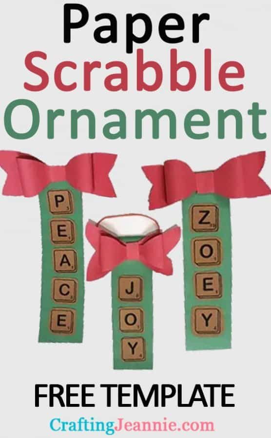 Scrabble ornament advertisement for Pinterest