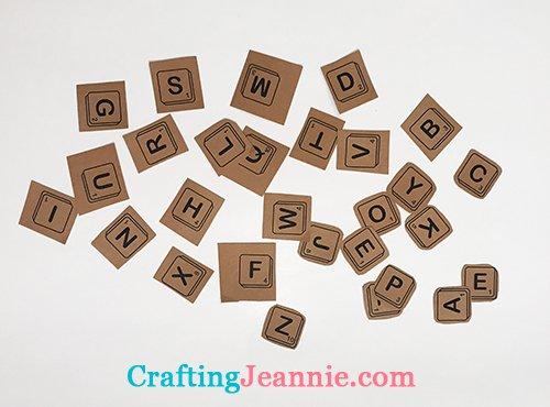 scrabble letters cut out