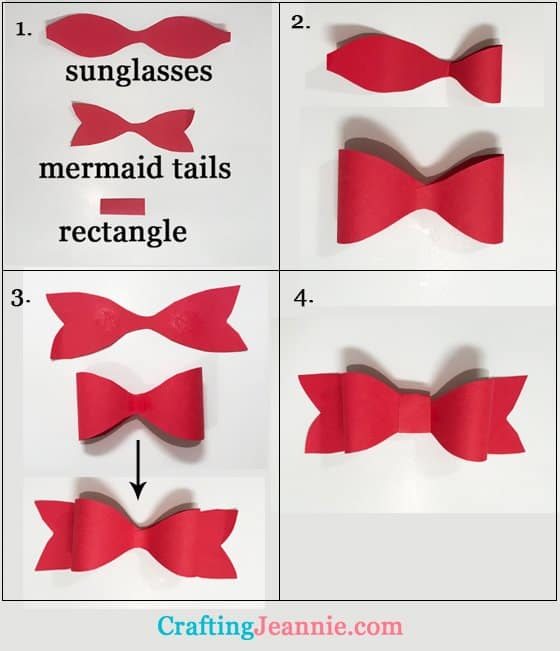 four steps to make an easy paper bow