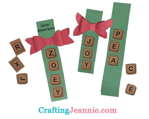 the scrabble ornaments being made