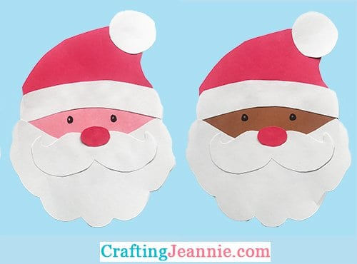 two paper santa heads craft for kids