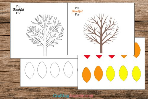 pages of thankful tree printable