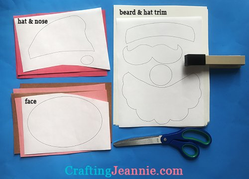 pieces of Santa face craft ready to cut