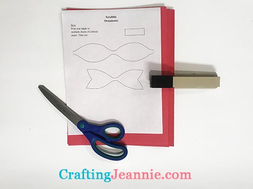 paper bow template for scrabble ornament ready to cut