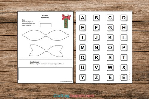 pages of scrabble ornament printable