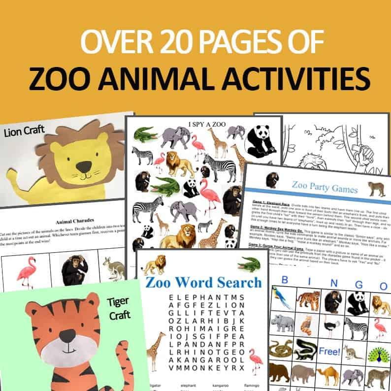zoo animal printable