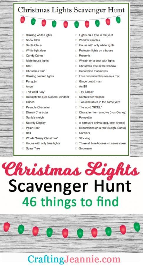 Christmas lights scavenger hunt advertisement for pinterest