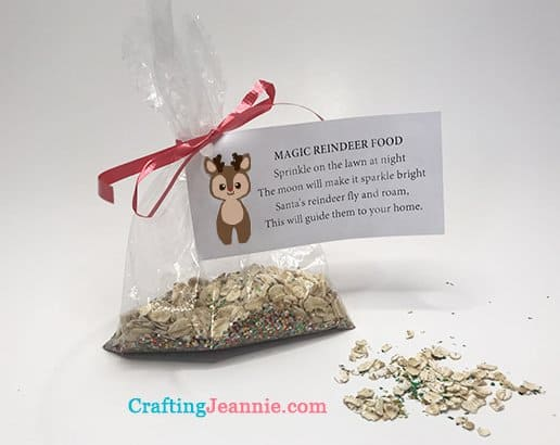 bag of magic reindeer food with attached poem