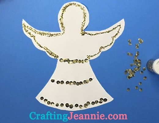 classroom angel craft decorated with gold glitter