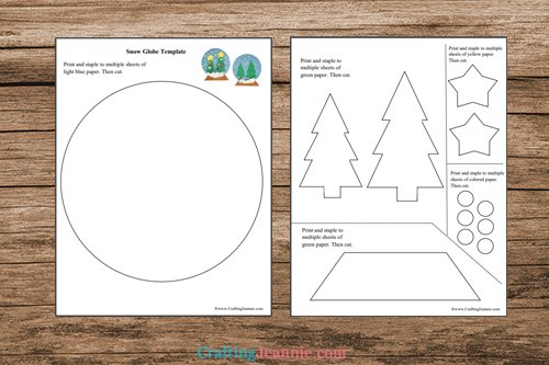 pages of paper Snow globe Craft printable