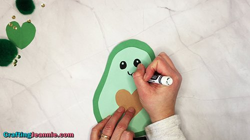 drawing on the avocado craft face