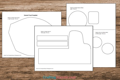 cement truck craft template printable pages