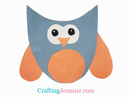 blue and orange paper owl craft