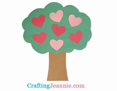 green paper tree with pink and red hearts crafting Jeannie