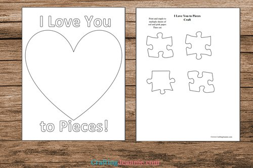 I love you to pieces template printable pages