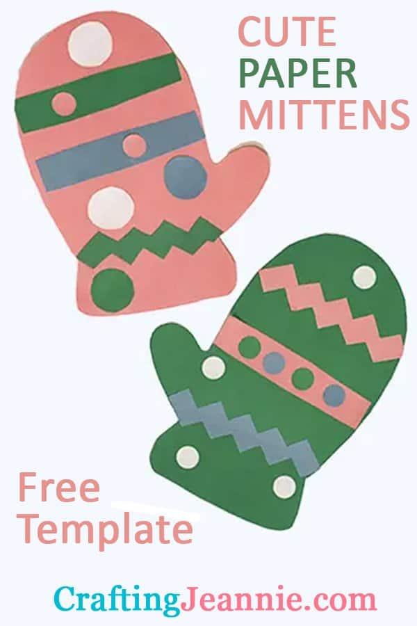 paper mitten craft ad for pinterest