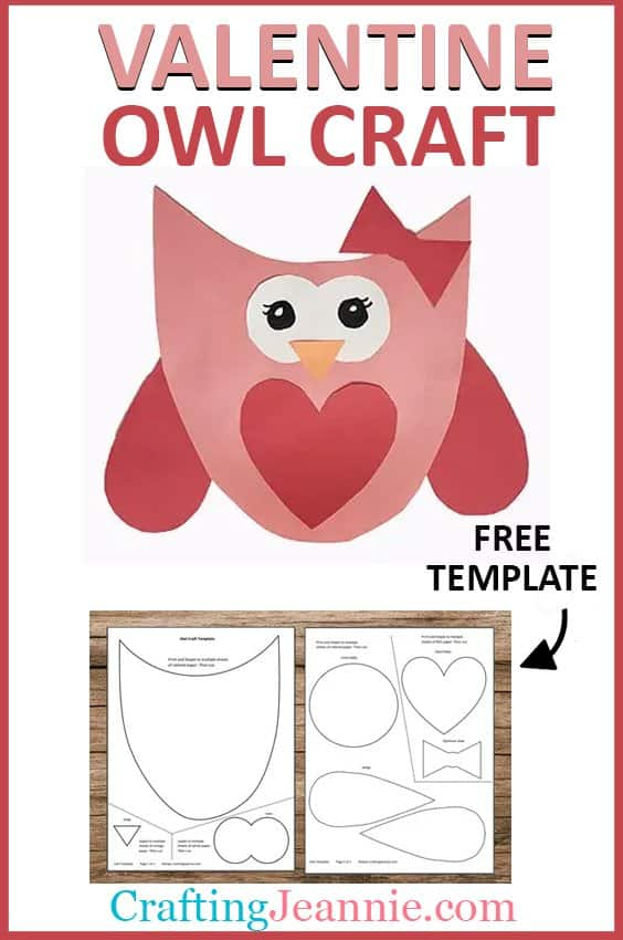 valentine owl craft with template for pinterest