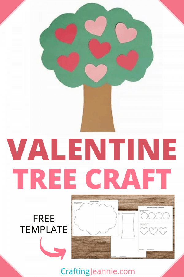 valentine heart tree craft with template for pinterest