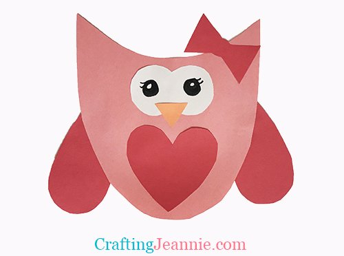 red and pink valentines day owl craft