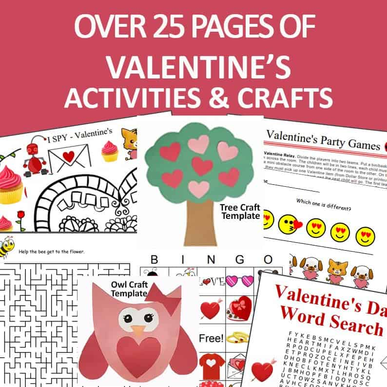 over 25 pages of Valentines activities for kids