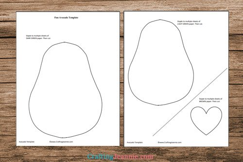 avocado craft template printable pages