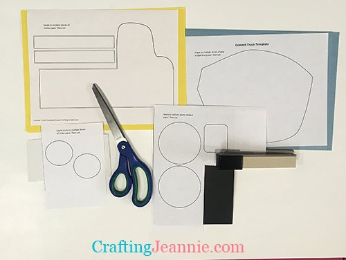 cement truck craft template ready to cut