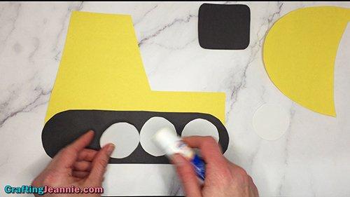 glue white circles onto the dozer track