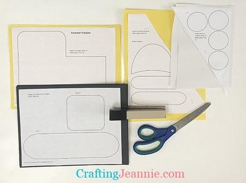 preschool excavator craft template ready to cut