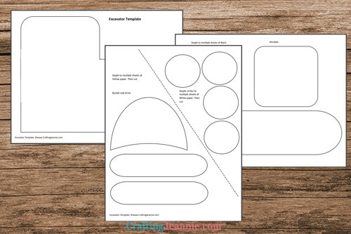 excavator craft template printable pages